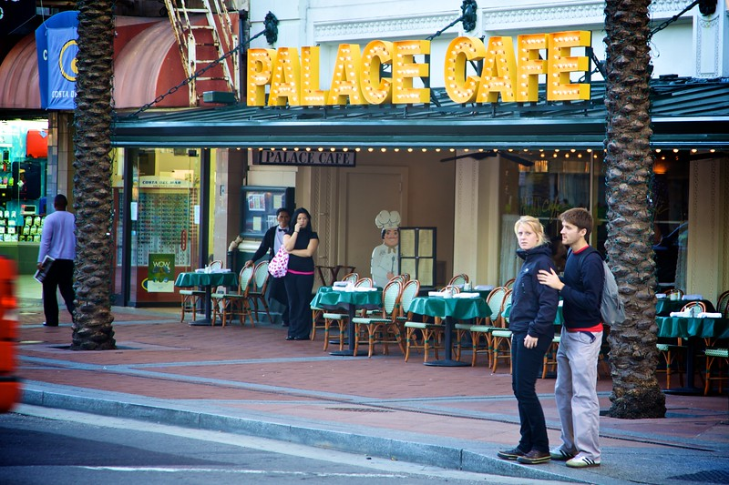 People outside the Palace Café in New Orleans.