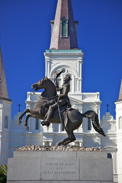 This statue of Andrew Jackson is prominent opposite St Louis' Cathedral in New Orleans. Before becoming president of the United States, Jackson had led the Unionists in New Orleans in the American Civil War.