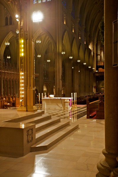 Looking back across the sanctuary down the nave of St Patrick's Cathedral.