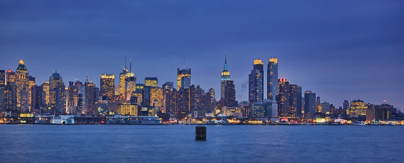 Midtown Manhattan, as seen from Weehawken at dusk.