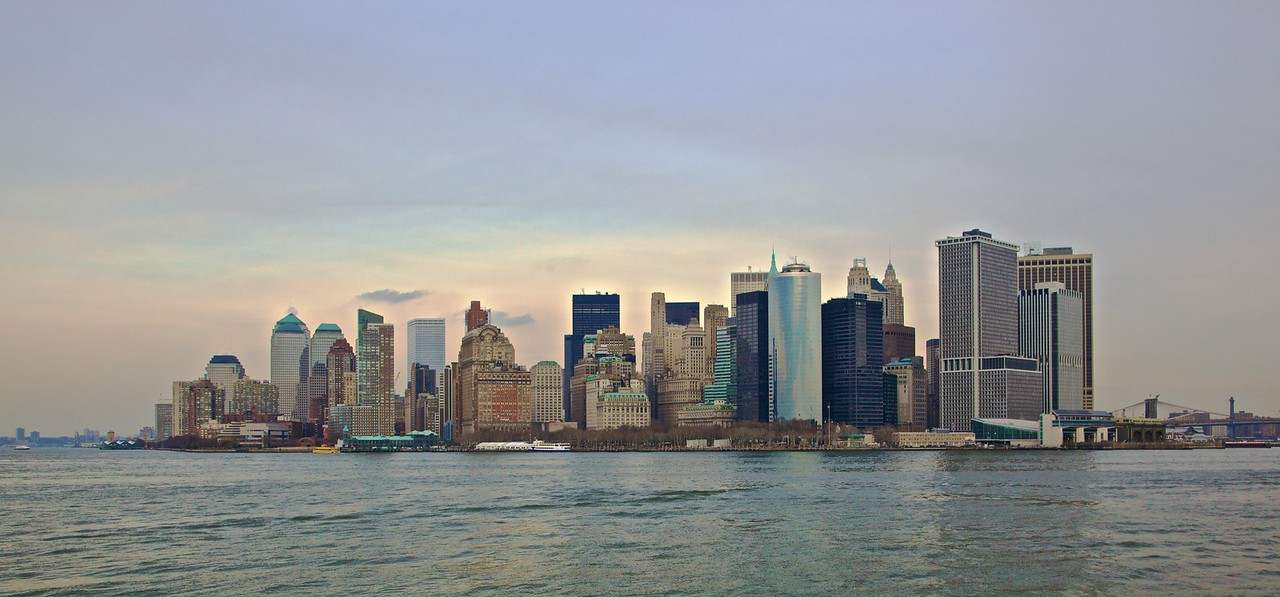The Lower Manhattan Skyline, as seen from the Staten Island Ferry.