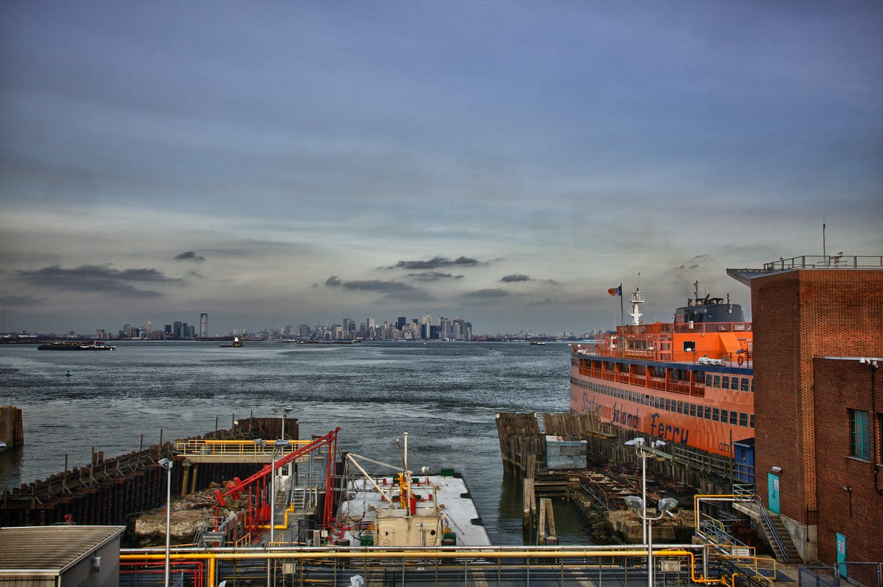Looking towards Lower Manhattan from above the Staten Island ferry terminal.