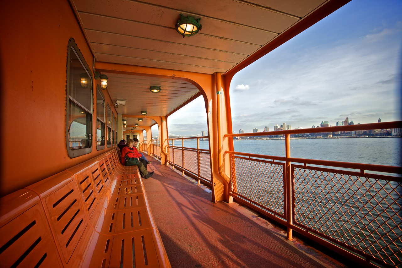 On-board a Staten Island ferry from Lower Manhattan to Staten Island.