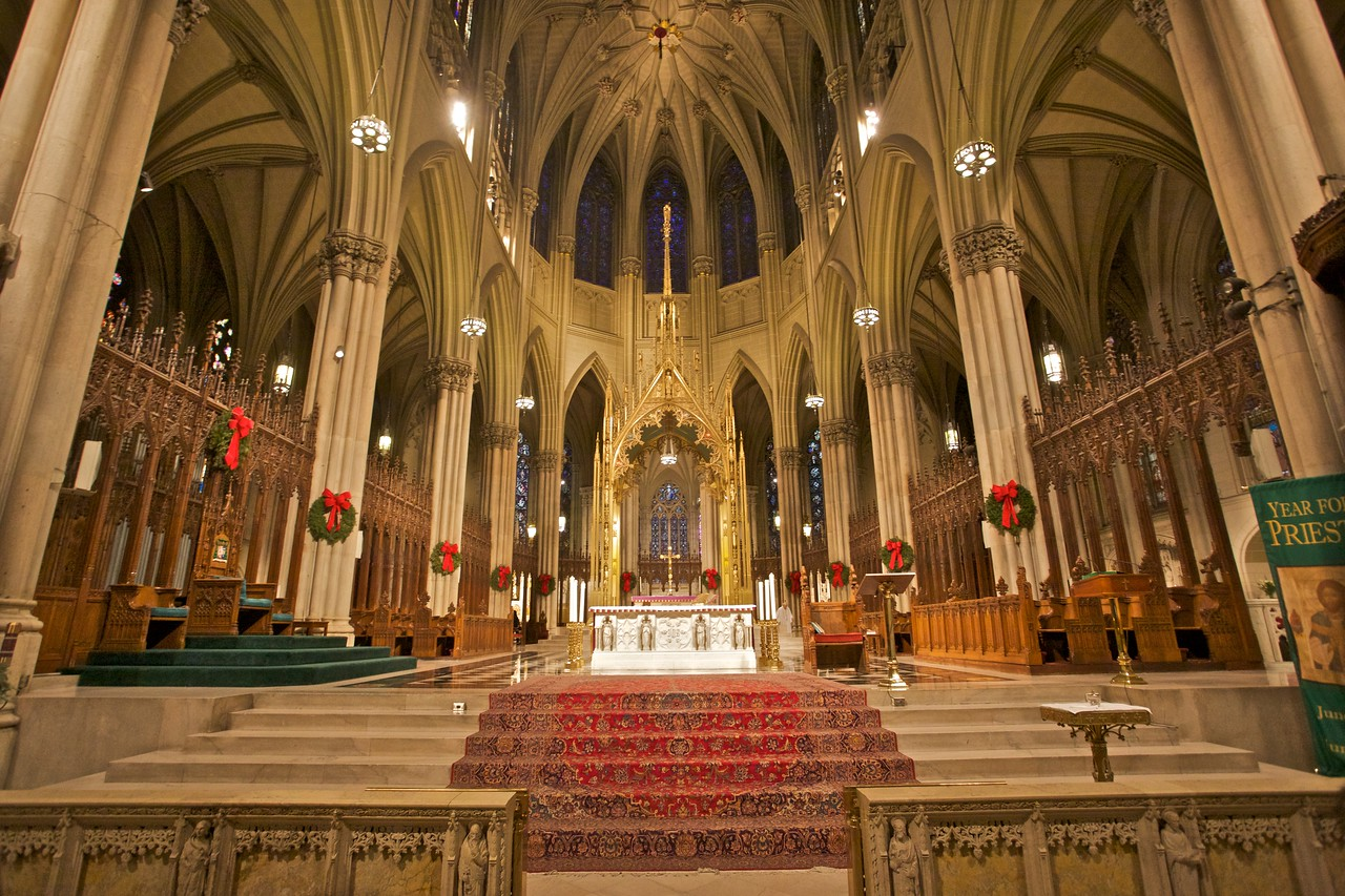 The sanctuary of St Patrick's Cathedral, New York.