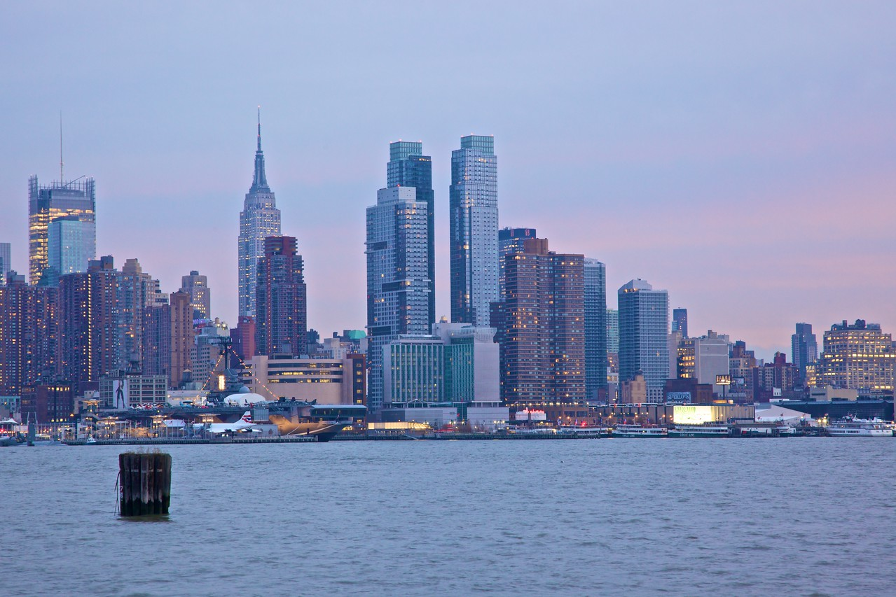 Midtown Manhattan, as seen from Weehawken at sunset.