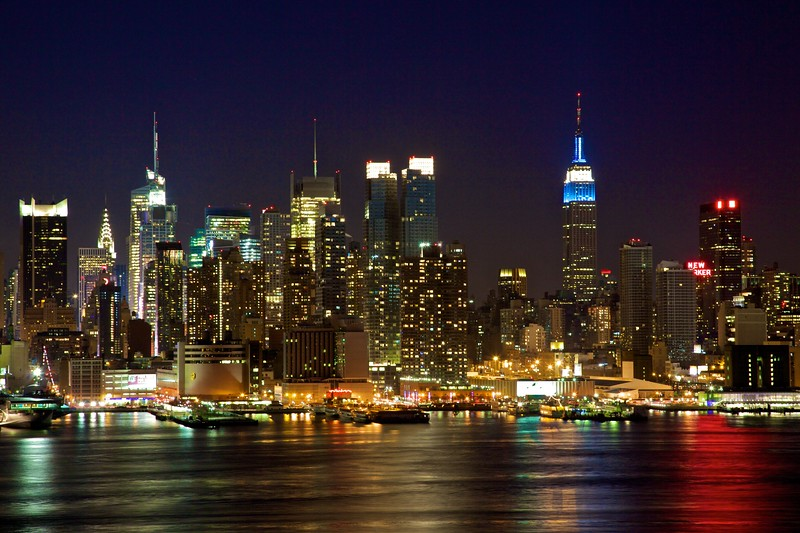 Midtown Manhattan by night, as seen from Weehawken, NJ.