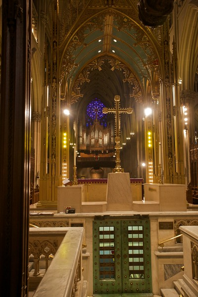 Looking towards the great organ from behind the sanctuary in St Patrick's Cathedral.