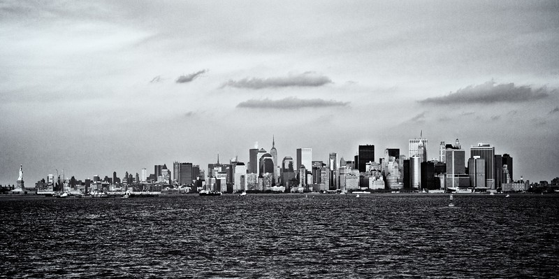 A view across New York Harbour from Staten Island, looking at Manhattan and the Statue of Liberty.