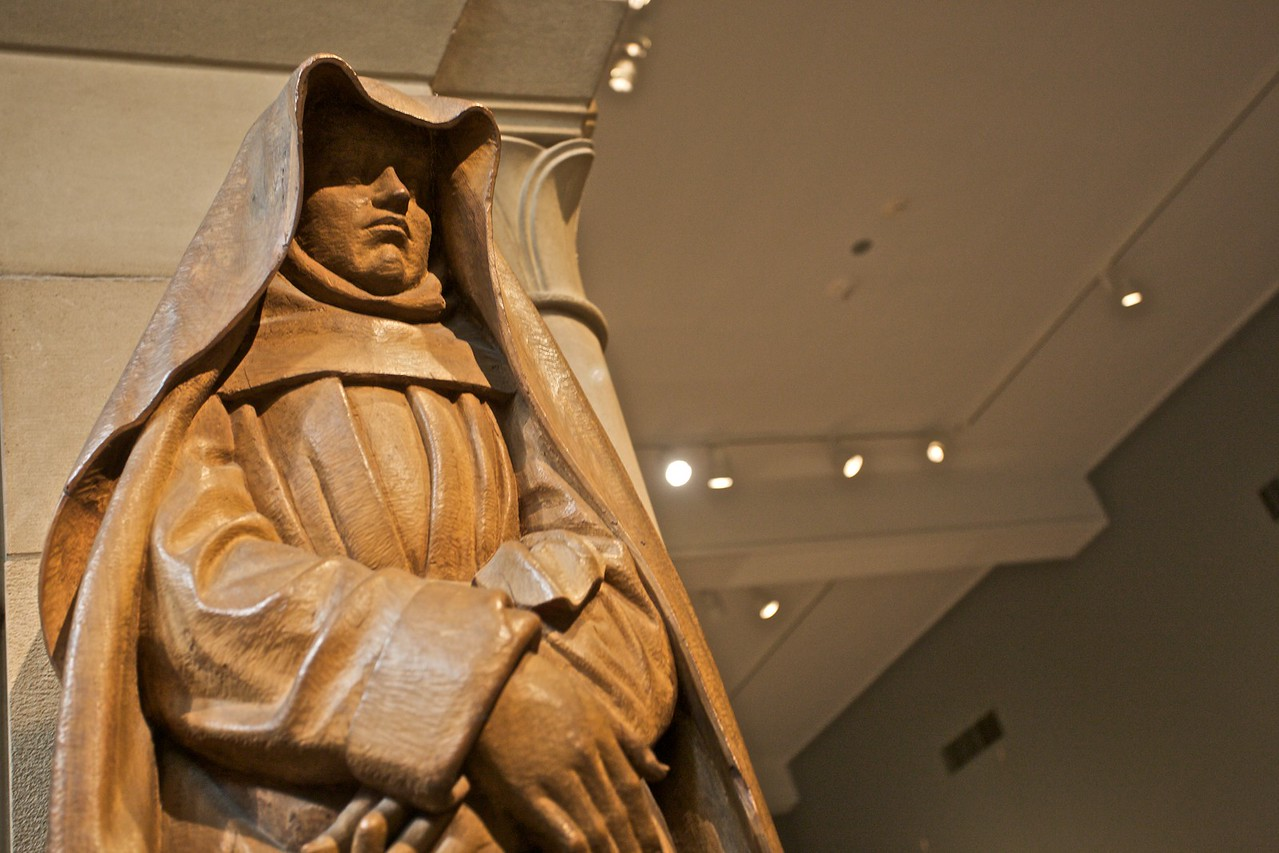 Statue of a mourning Virgin from a Crucifixion group (French, c. 1450–75). (Met.)