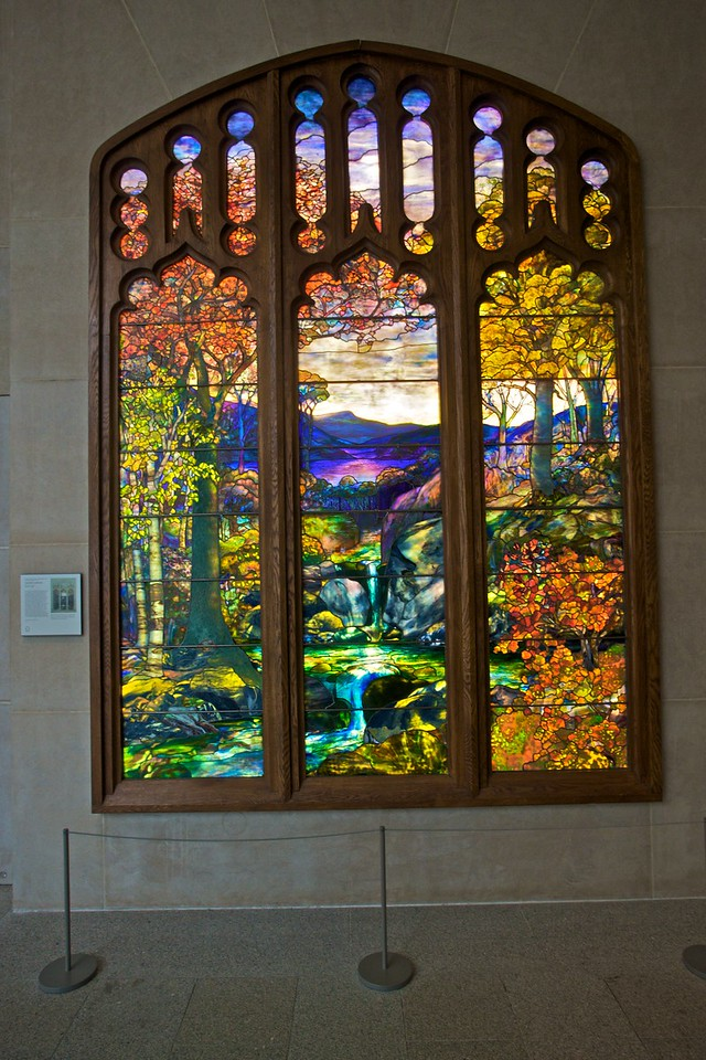 'Autumn Landscape' stained glass, attributed to Agnes Northrop (1857–1953) for Tiffany Studios. (Met.)