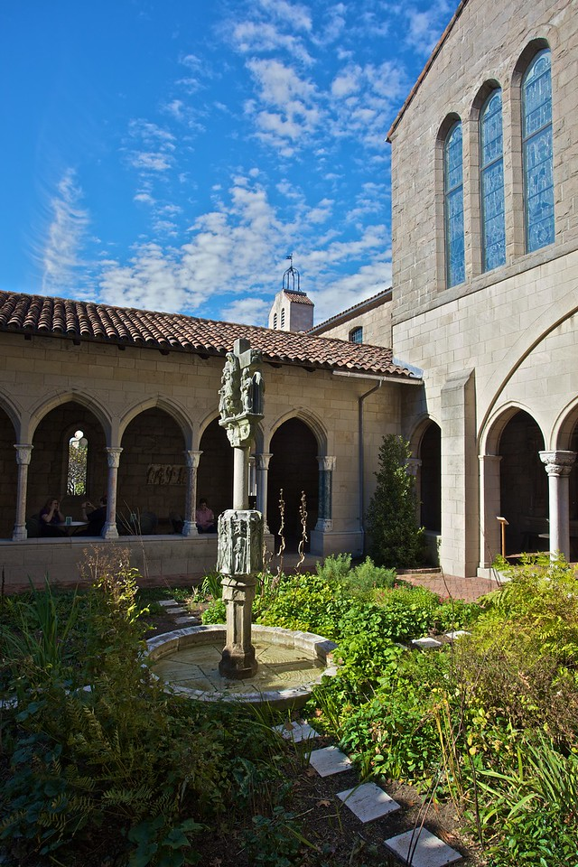 A cloistered courtyard. (Cloisters)