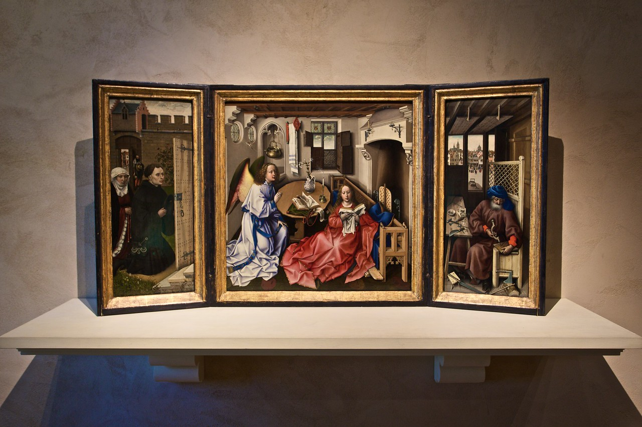 Annunciation Triptych (Merode Altarpiece, c. 1427–32) by the Workshop of Robert Campin (Southern Netherlands, Tournai). (Cloisters)
