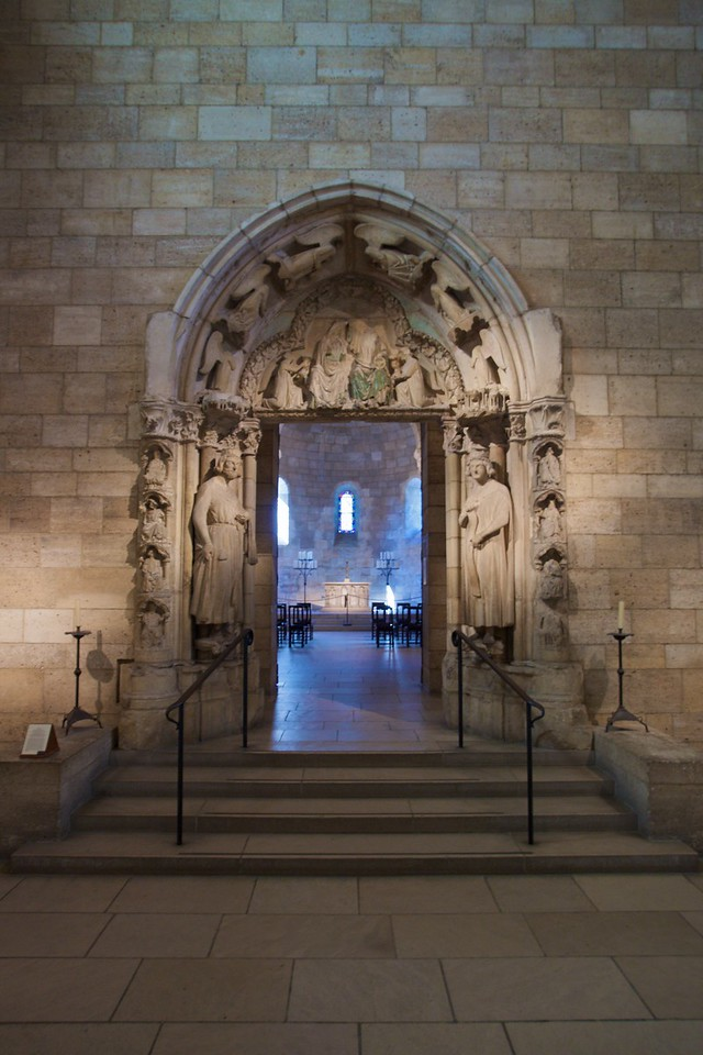 Limestone doorway from the abbey of Moutiers-St-Jean, near Dijon (c. 1250). (Cloisters)
