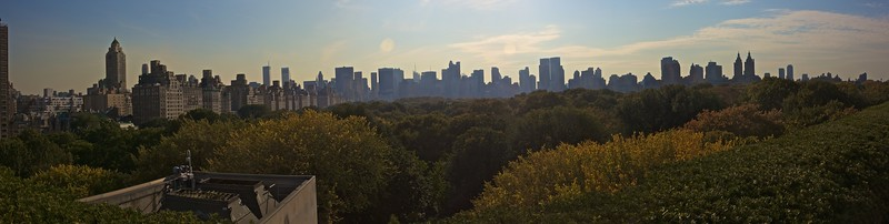 View from the roof garden of the Met. over Central Park towards Midtown Manhattan. (Met.)