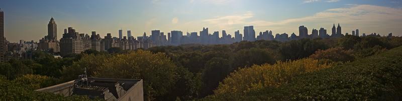 View from the roof garden of the Met. over Central Park towards Midtown Manhattan. (Met.)