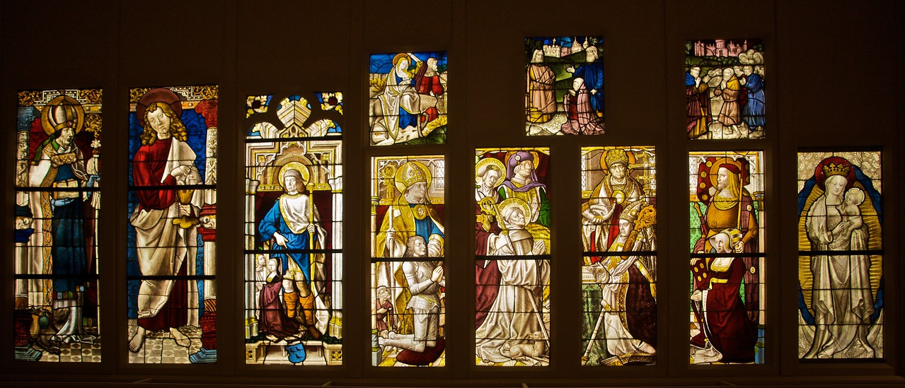 Collection of late-medieval stained glass. (Met.)