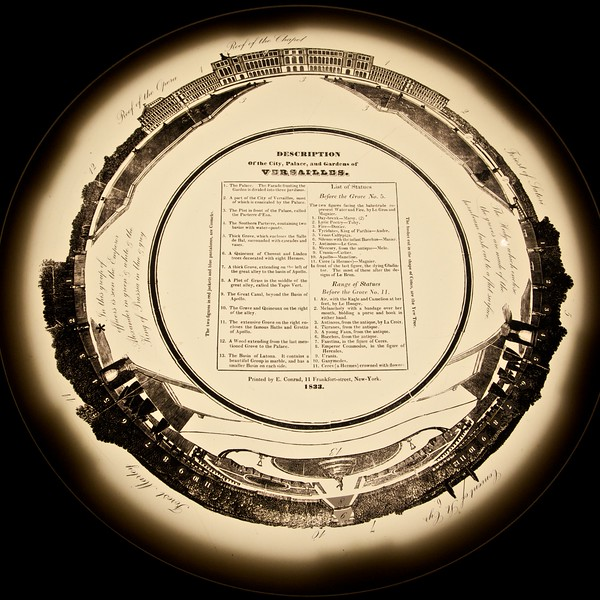 The key/description for the panoramic painting of the Palace and Gardens of Versailles (next photo). (Met.)