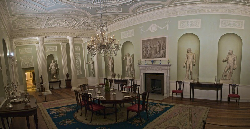 Dining room from Lansdowe House (this room built c. 1765–8), in the southwest corner of Berkeley Square, W.1. (Met.)<br /> <br /> (Three photos stitched together.)