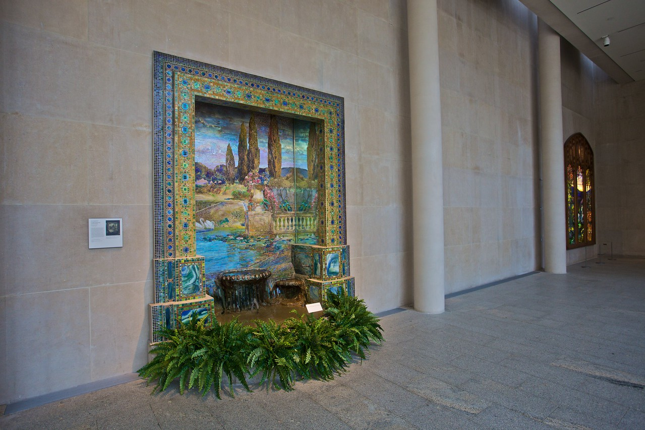 'Garden landscape and fountain'mosaic by Louis C. Tiffany (1848–1933) for Tiffany Studios. (Met.)