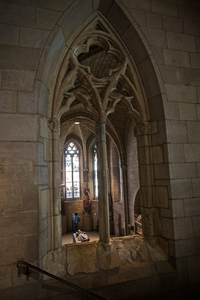 Window into the Gothic chapel. (Cloisters)
