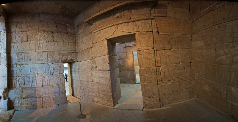 Inside the Temple of Dendur. (Met.)<br /> <br /> (Five photos stitched together.)
