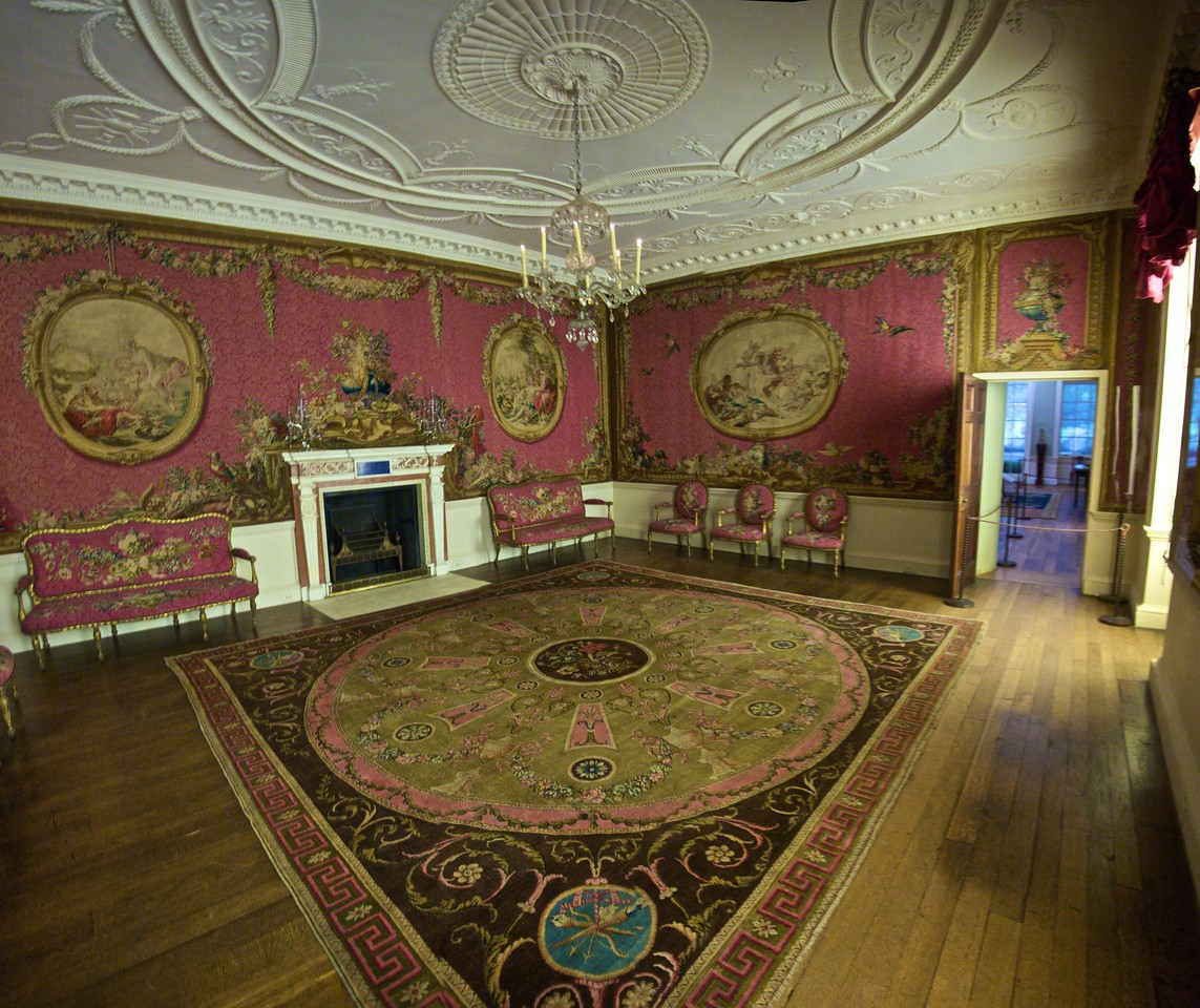 Tapestry room from Croome Court, Worcestershire (built 1751–60). (Met.)<br /> <br /> (Three photos stitched together.)