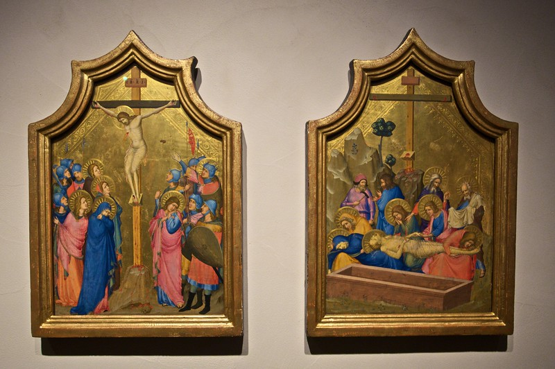 Panels with the Crucifixion and the Lamentation by the Master of the Codex of St George (Florentine, fl. in Avignon c. 1320–35). (Cloisters)