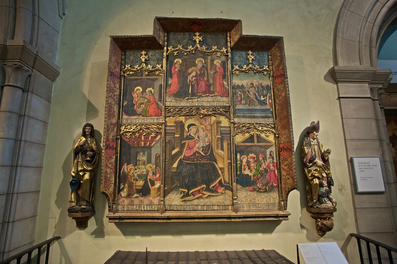 'Virgin and child enthroned with scenes from the Life of th Virgin' (Spanish, c. 1400–1500). (Met.)
