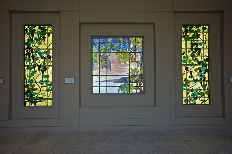 'View of Oyster Bay' (1908), stained glass by Louis C. Tiffany (1848–1933) and his Tiffany Studios. (Met.)