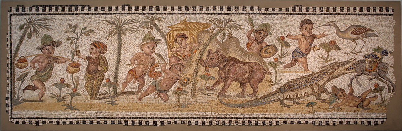 Mosaic panel with pygmies in a Nilotic scene (Roman, mid-3rd century A.D.). (Met.)