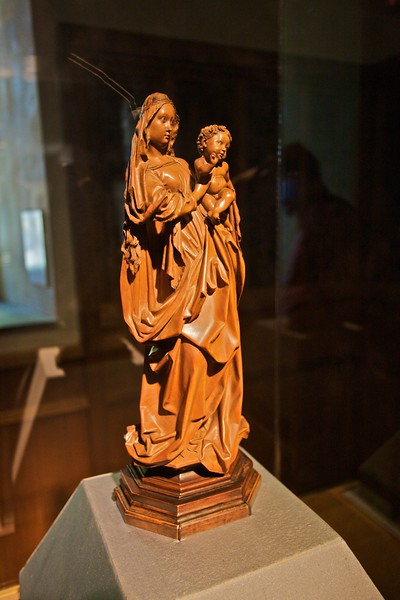 Standing statue of the Virgin and Child (c. 1470), attr. to Niclaus Gerhaert von Leiden (perhaps Viennese, fl. 1460–73). (Cloisters)