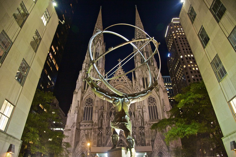 This sculpture of Atlas with the globe on his shoulders is prominent on 5th Avenue outside the Rockefeller Center, directly opposite St Patrick's Cathedral.