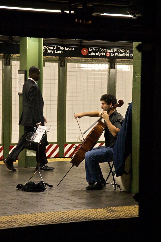 A rather good cellist at Times Square subway station.