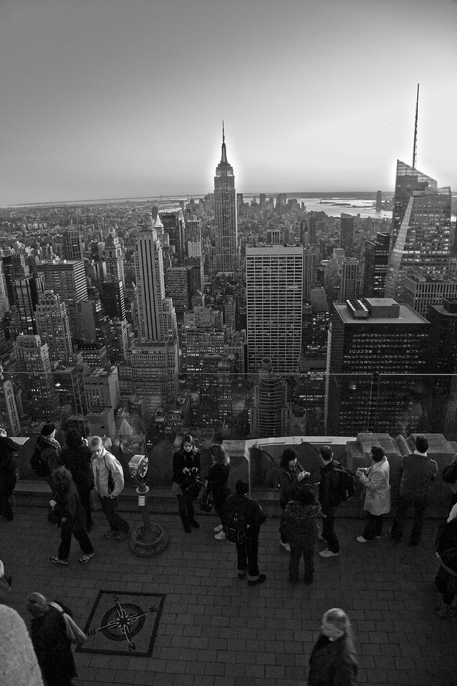 Tourists gathered to take photos on the lower observation deck of the GE Building at Rockefeller Center.