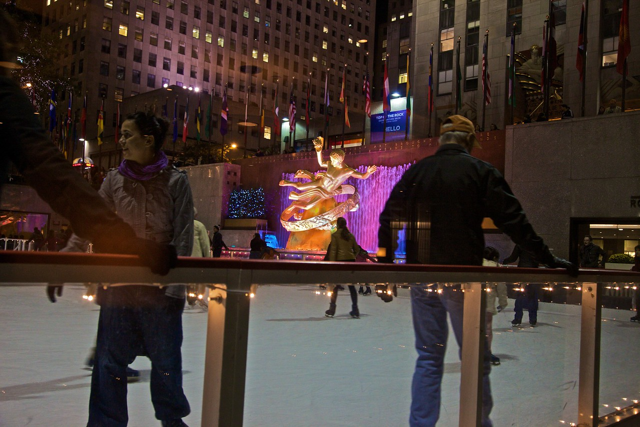 Ice-skating at Rockefeller Center.