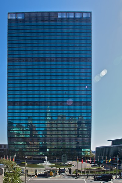 The United Nations Headquarters on 1st Avenue.