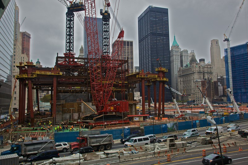 The large-scale construction of the new 1 World Trade Center in Downtown Manhattan.