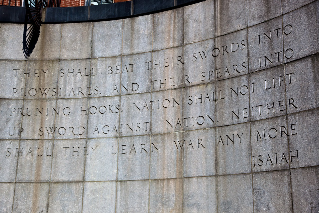 The 'Isaiah Wall' in the Ralph Bunche Park opposite the United Nations Headquarters in East Manhattan. (Isaiah 2: 4)