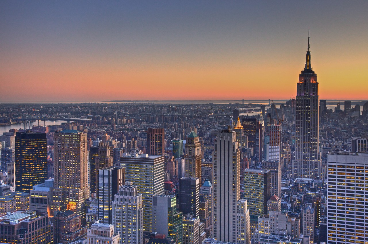 Midtown Manhattan at sunset, as seen from the GE Building at Rockefeller Center.