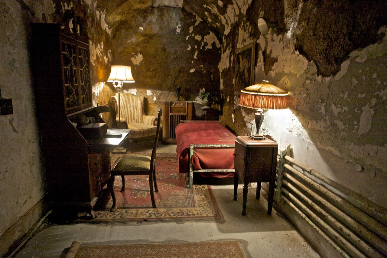 The cell occupied by Al Capone—in relative luxury—during his short detention at the East State Penitentiary.