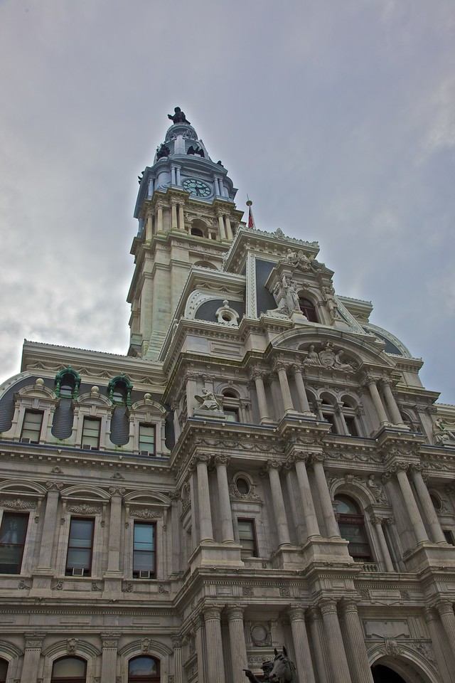 Philadelphia City Hall. At the top of the tower you can see a statue of William Penn (the founder of Pennsylvania).