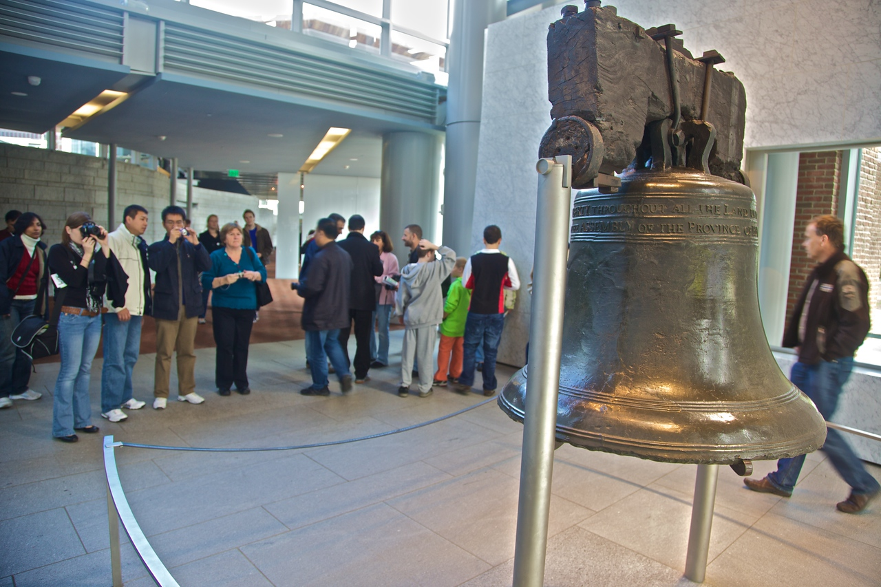 Tourists at the Liberty Bell Center.