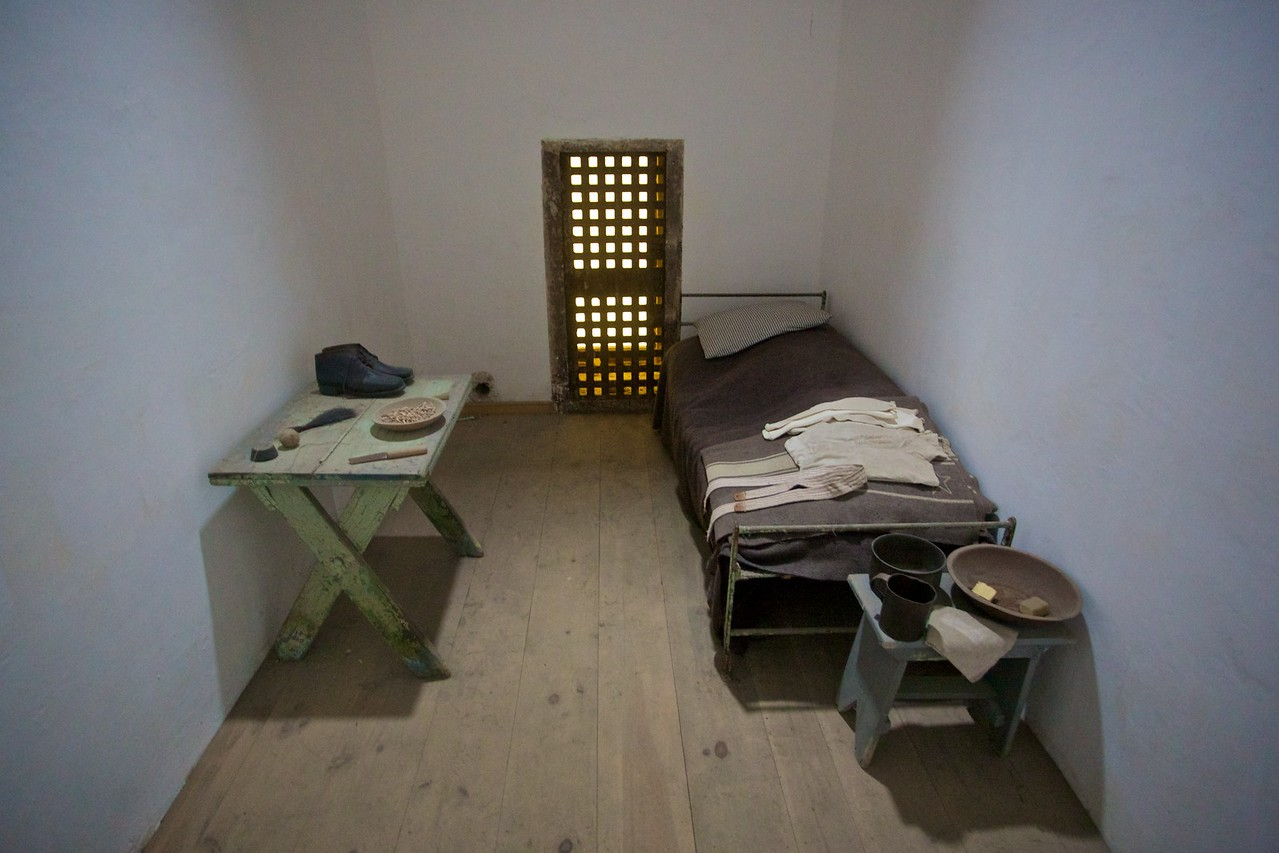 A re-constructed cell in the East State Penitentiary. This is laid-out as it was when the prison was originally built, with each prisoner in solitary confinement. As prison population numbers went up, though, prisoners had to share cells.