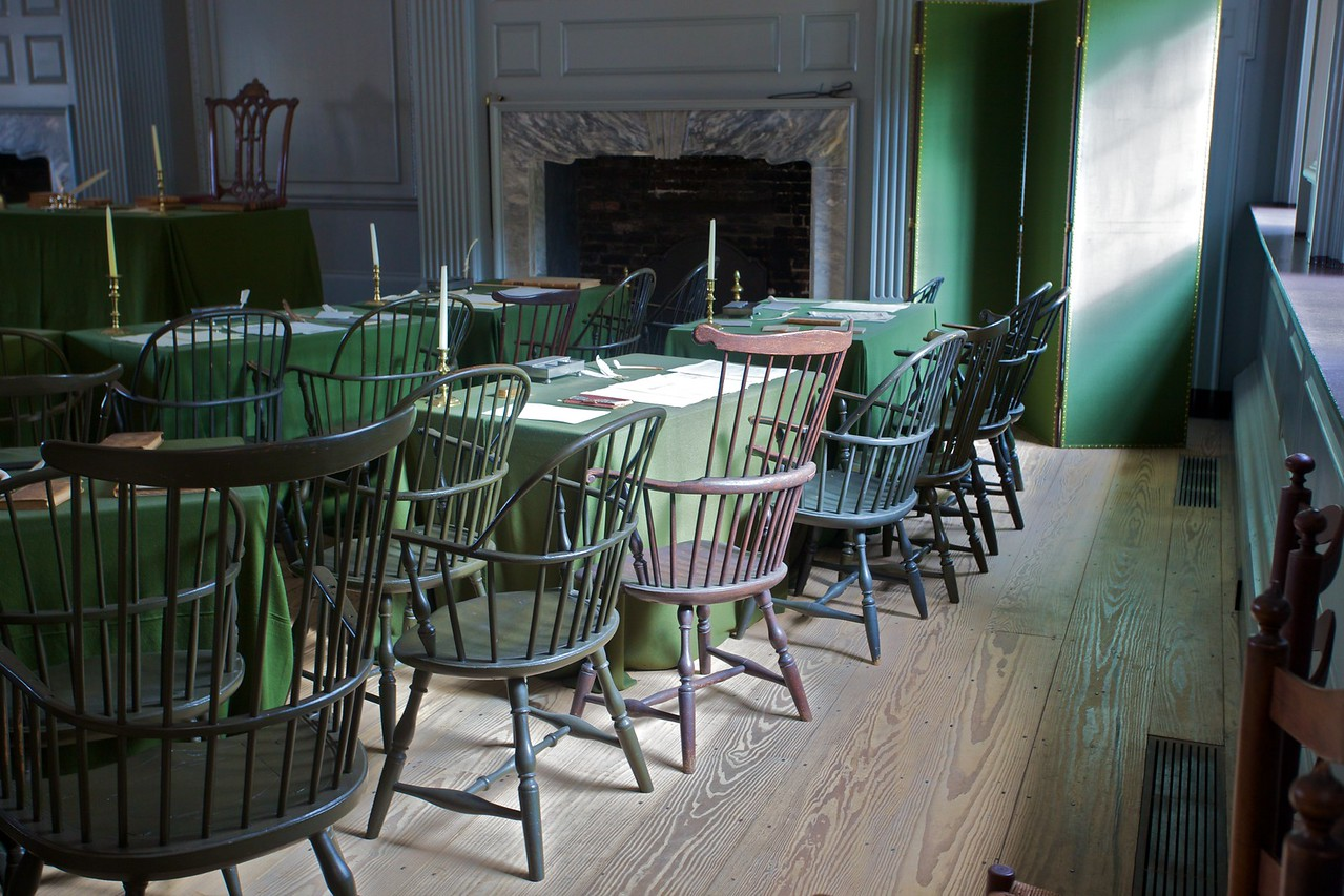 Inside Independence Hall, in the room where the U.S. Constitution was signed.