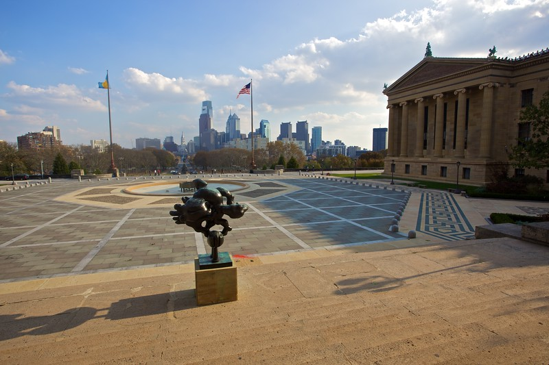 Looking towards downtown Philadelphia from the steps of the Philadelphia Museum of Art.