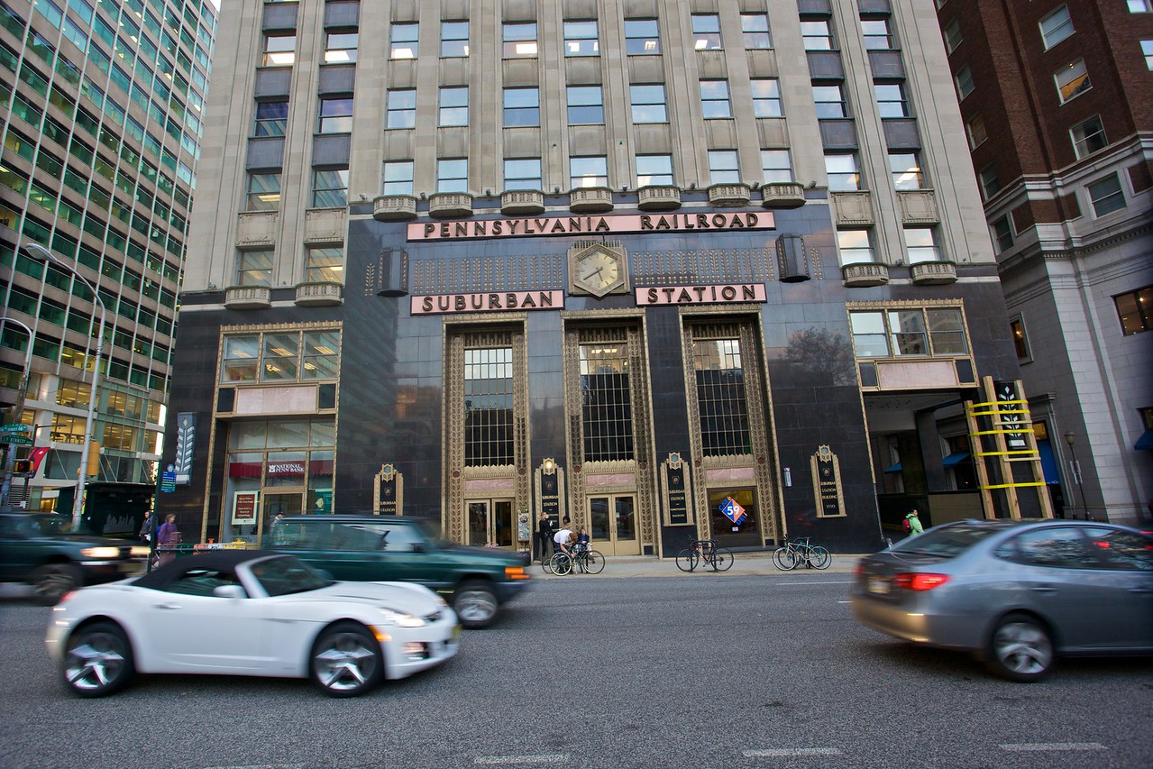"""Cars going past Philadelphia suburban station on the first day of the <a href=""""http://en.wikipedia.org/wiki/SEPTA#2009_Strike"""" title=""""SEPTA - Wikipedia, the free encyclopedia"""">week-long SEPTA transit strike</a>."""