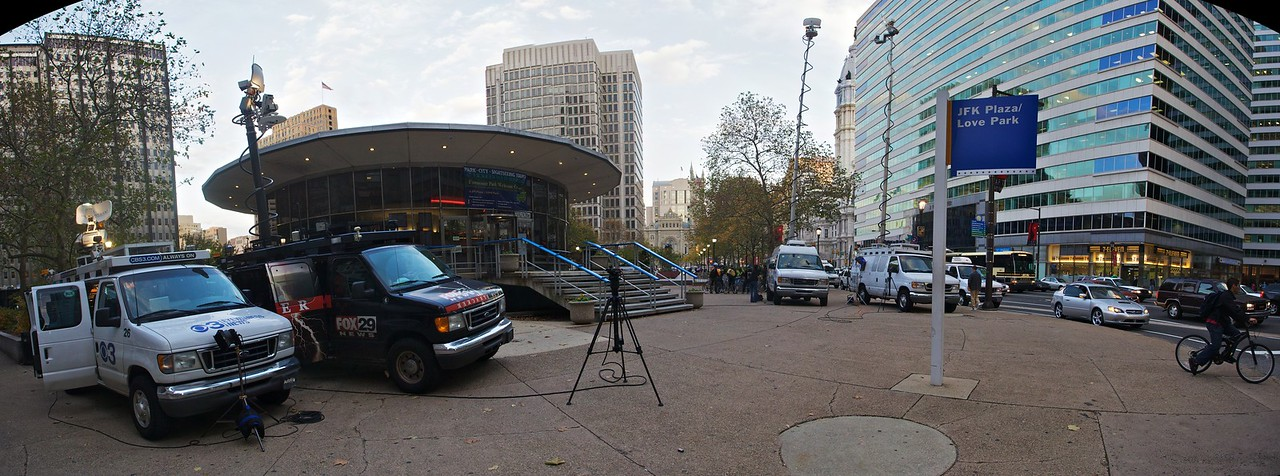 """News crews gathered in Philadelphia to report on the increased traffic on the first day of the <a href=""""http://en.wikipedia.org/wiki/SEPTA#2009_Strike"""" title=""""SEPTA - Wikipedia, the free encyclopedia"""">SEPTA transit strike</a>."""