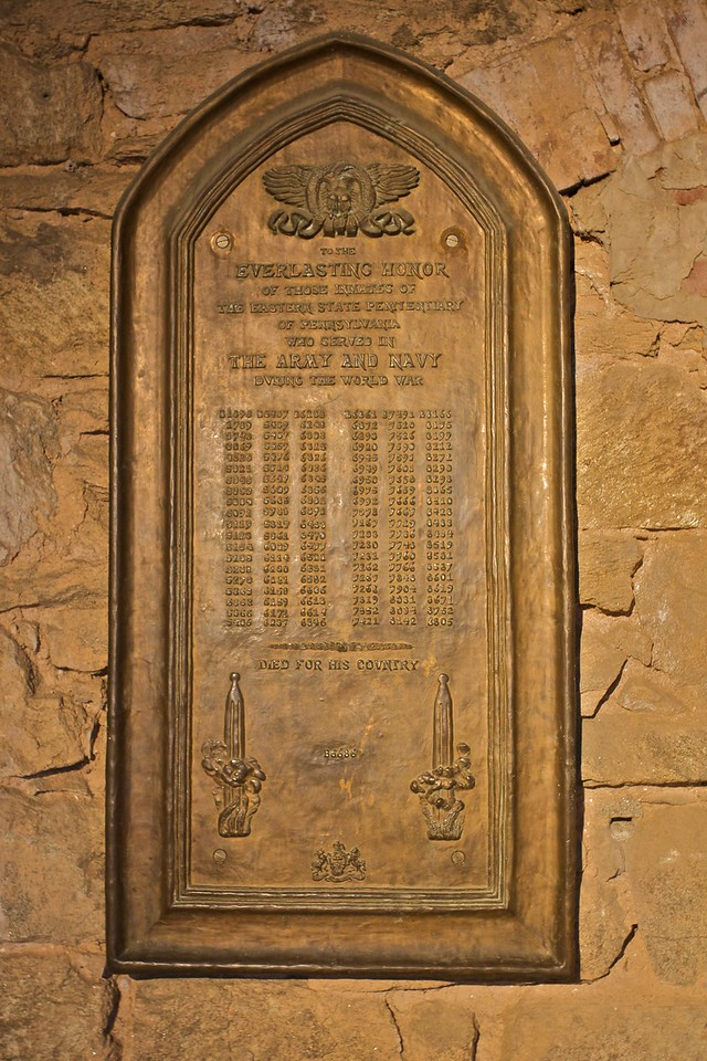 A memorial to the prisoners of the East State Penitentiary who served in the war, only one of whom died.