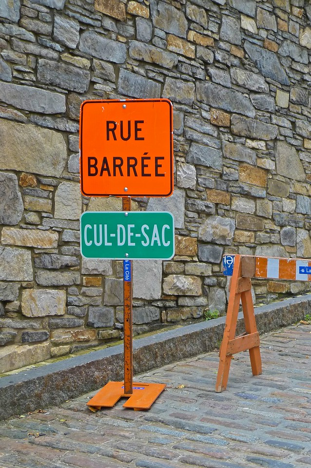 It appears that French-Canadians use the phrase 'cul-de-sac' to mean 'dead end'; we were always taught that it's a nonsense phrase only used by the English.