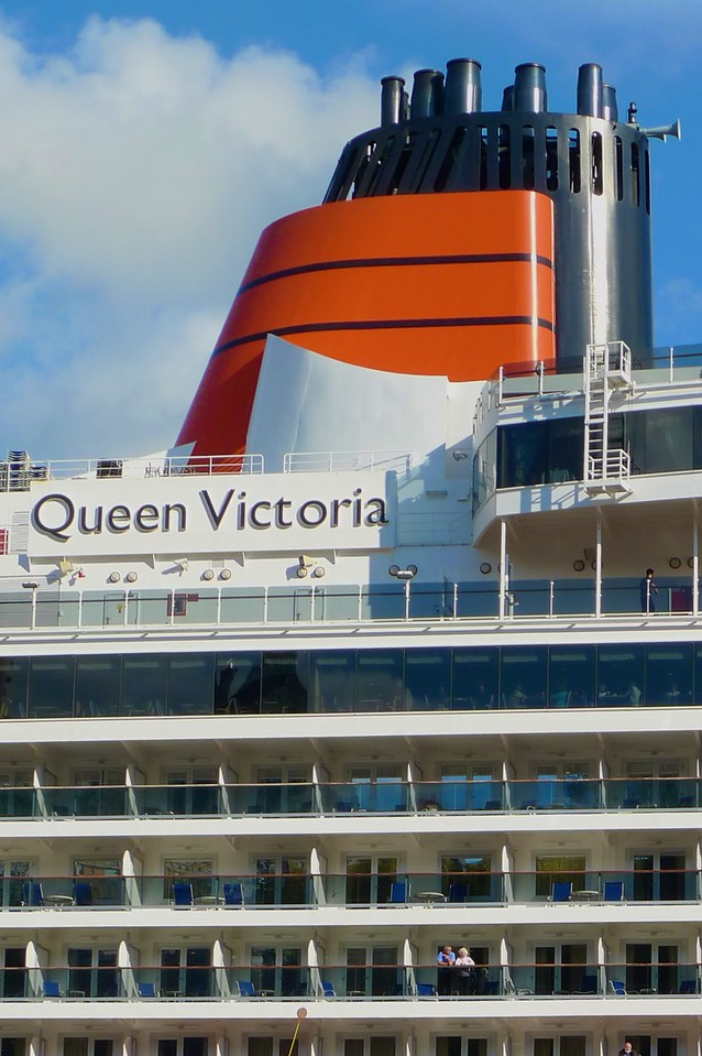 The <em>Queen Victoria</em> moored along the St Lawrence river at Quebec.